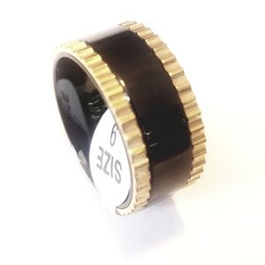 New two tone stainless steel spinner ring 9-13